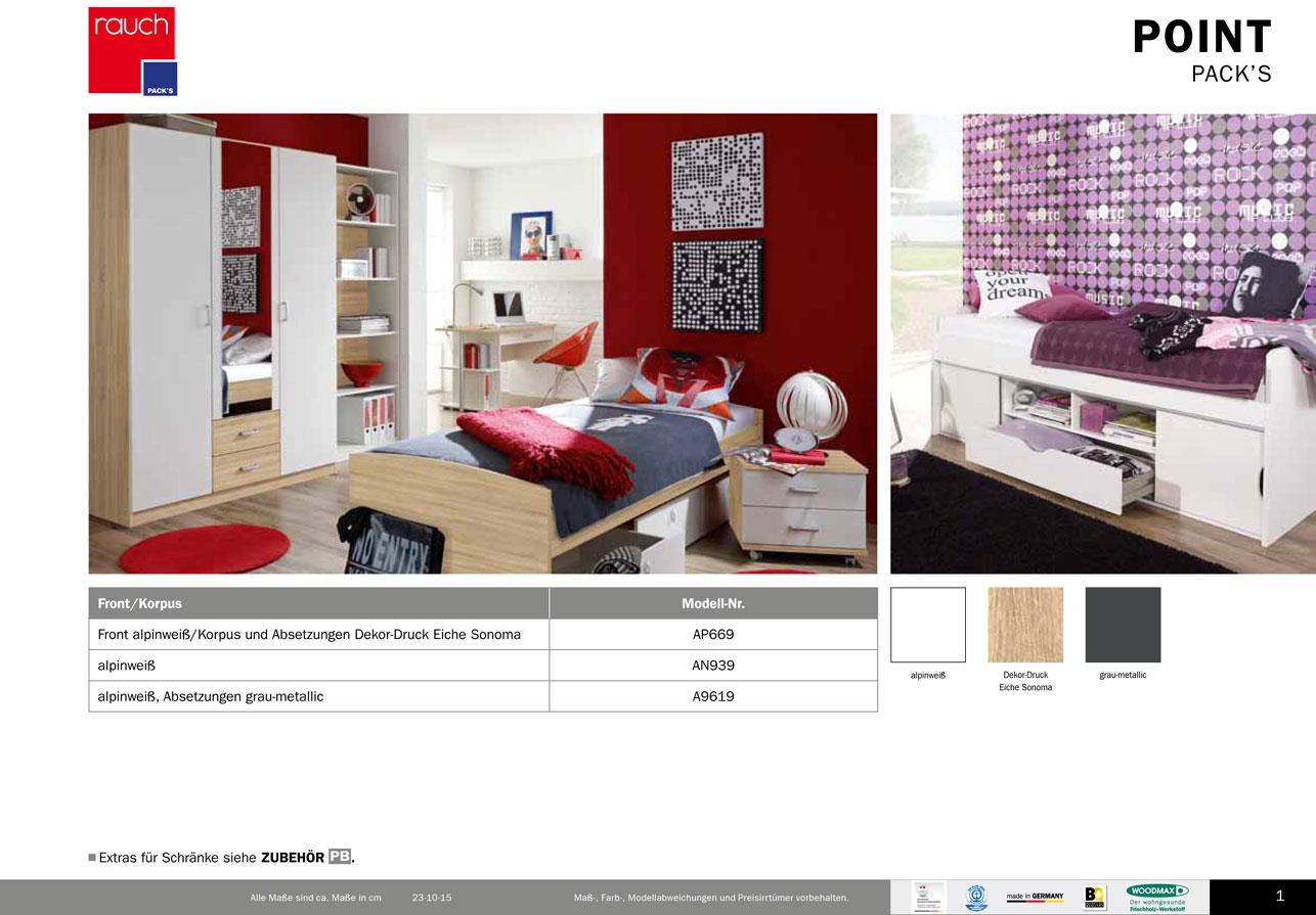 modernes jugendzimmer point von rauch packs ebay. Black Bedroom Furniture Sets. Home Design Ideas