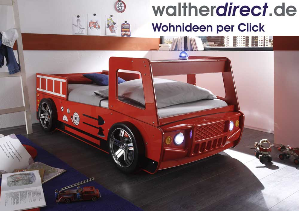 autobett spark 90x200cm feuerwehrbett kinderbett sofort lieferbar ebay. Black Bedroom Furniture Sets. Home Design Ideas