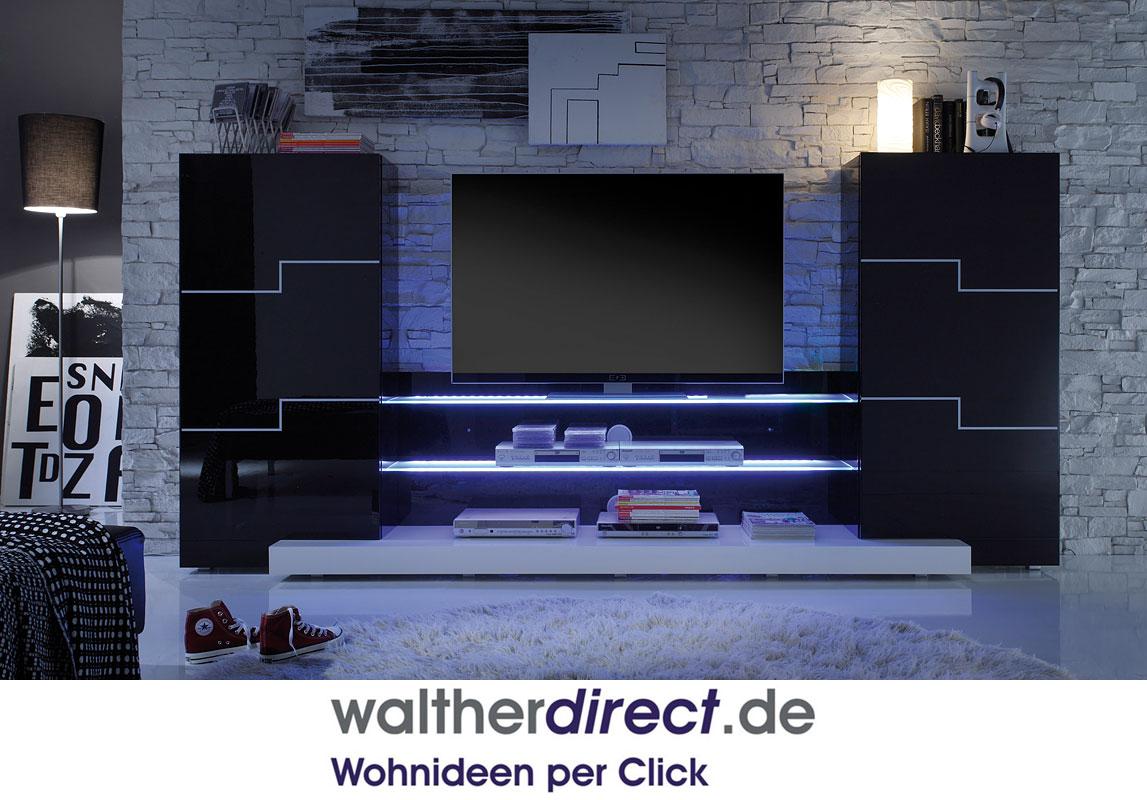 Moderne Wohnwand Twin : Details zu easyfurn TWIN Wohnwand 955 ca300x142x50 cm