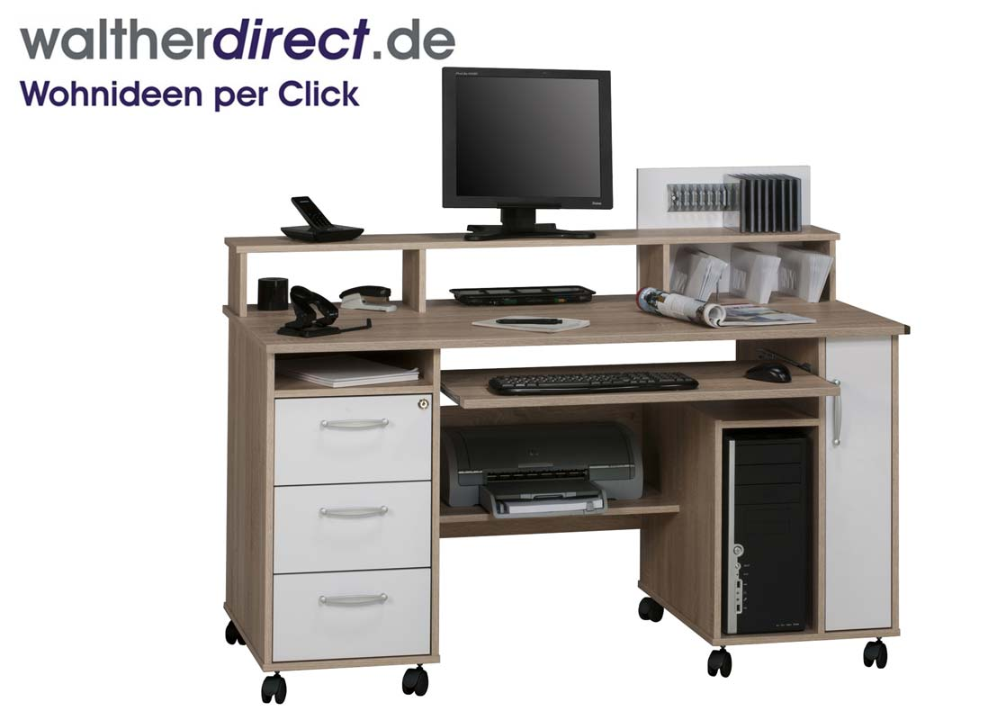 schreibtisch mit monitoraufsatz 141 1x104 4x67cm von maja m bel computertisch ebay. Black Bedroom Furniture Sets. Home Design Ideas