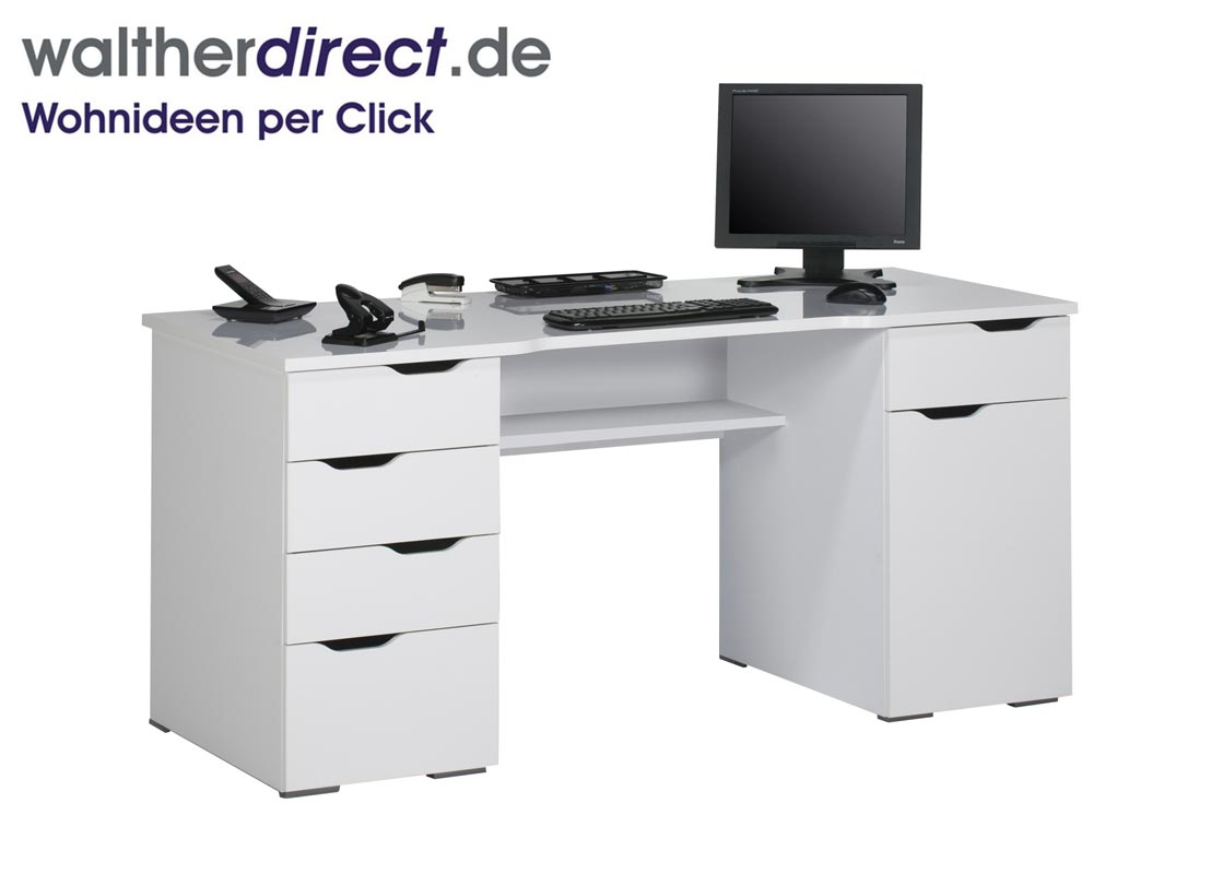 schreibtisch mit ablagefl che 160x74 5x67 cm von maja m bel computertisch ebay. Black Bedroom Furniture Sets. Home Design Ideas