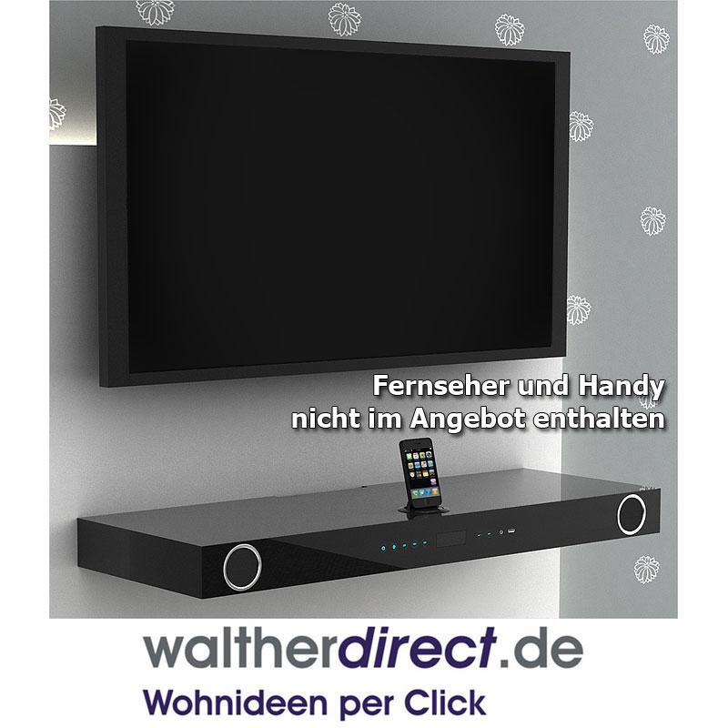 tv hifi board portland mit docking station schwarz hochglanz lackiert schwarz ebay. Black Bedroom Furniture Sets. Home Design Ideas